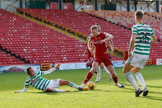 Sam Cosgrove played a big role in Aberdeen's second goal against Celtic on Sunday.