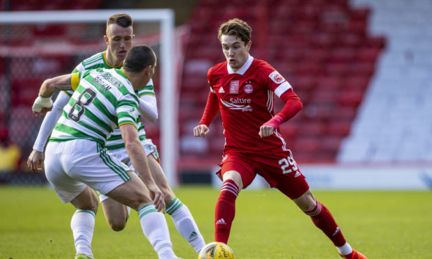 Aberdeen's Scott Wright in action against Celtic.