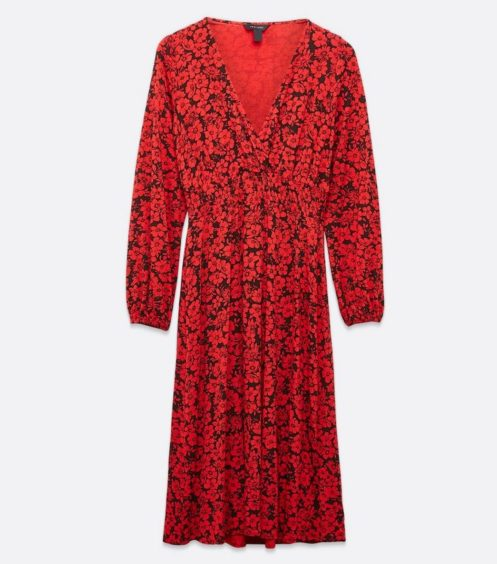 New Look   Red Floral Long Sleeve Midi Wrap Dress, £22.99