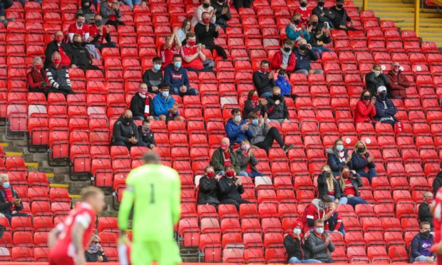 Aberdeen hosted a trial event with 300 supporters at Pittodrie in September, but haven't been allowed to admit fans since