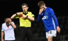 Cove Rangers' Blair Yule is red carded against Dundee.