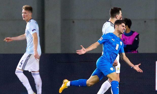 Israel's Manor Solomon celebrates making it 1-0 against Scotland