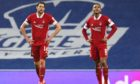 Ash Taylor and Funso Ojo during Aberdeen's defeat at Ibrox.