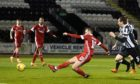 Niall McGinn levels for Aberdeen to make it 1-1 against St Mirren.