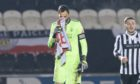 Aberdeen goalkeeper Joe Lewis at full-time after the Betfred Cup loss to St Mirren.