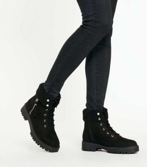 New Look   Black Suedette Teddy Trim Chunky Lace Up Boots, £29.99