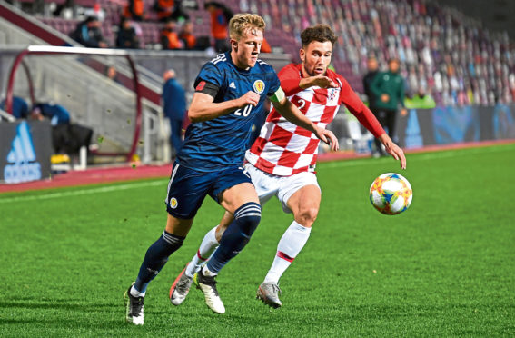 Ross McCrorie playing for Scotland Under-21s against Croatia.
