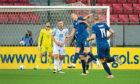 Slovakia's Jan Gregus (centre) celebrates scoring his side's winner against Scotland.