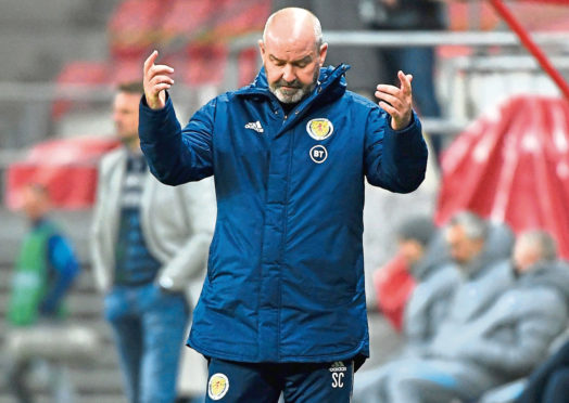 Scotland manager Steve Clarke looks frustrated during the UEFA Nations League Group 2, League B match at City Arena, Trnava, Slovakia.
