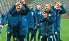 Steve Clarke, left, celebrating Scotland qualifying for Euro 2020 in Belgrade.