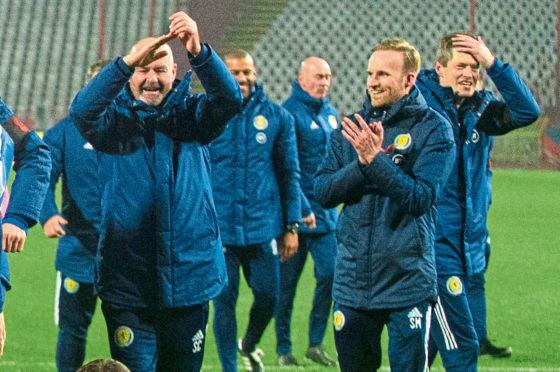 Steve Clarke, left, celebrating Scotland qualifying for Euro 2020 in Belgrade.