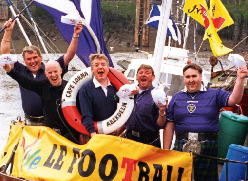 Gordon Murray, Danny Couper, George Hosie, Ally Gunn and Bob Craig set sail for France 98