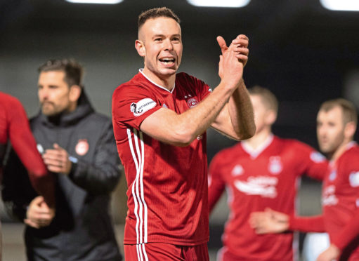 Andy Considine at full time during the William Hill Scottish Cup quarter-final win against St. Mirren on February 29, 2020 in Paisley.