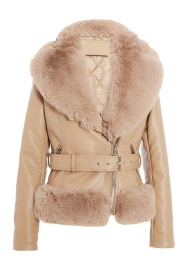 Quiz   Stone Faux Fur Trim Biker Jacket £59.99