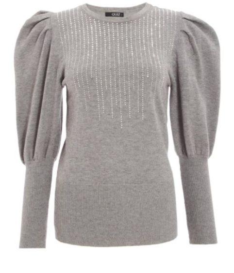 Quiz   Grey Knitted Diamante Puff Sleeve Jumper, £29.99