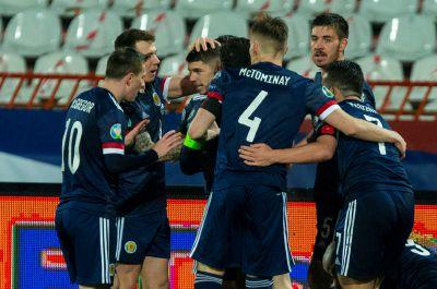 Scotland celebrate the opener against Serbia