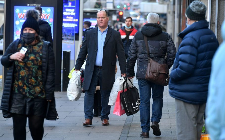 Christmas shoppers on Union Street in Aberdeen.