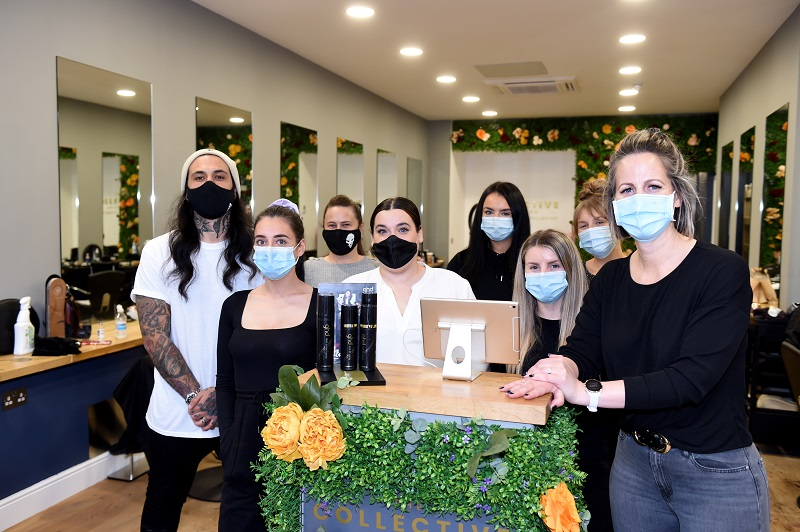 From left, Ross Hume, Stevie-Lee Brown, Alex Clark, Rebecca Booth, Abbie Salmon, Courtney Vaughan, Courtney Forbes and owner Julie Hulcup at The Collective Aberdeen