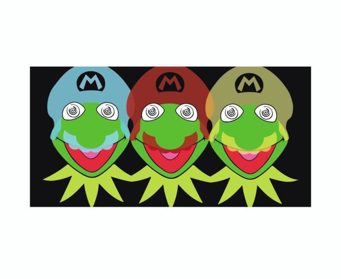 Depictions of Kermit the Frog meets Super Mario, by Leighton McIntosh.