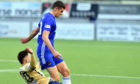 Cove Rangers defender Ross Graham is challenged by Forfar's Jordan Allan.