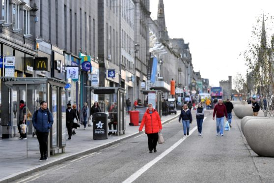 Shoppers on Aberdeen's Union Street