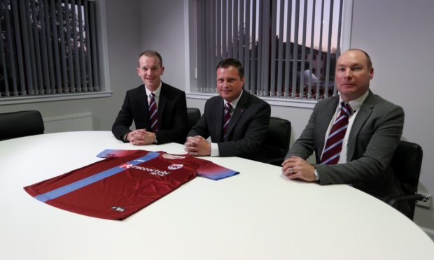 New Keith manager Andy Roddie, left, with chairman Andy Troup and assistant Tommy Wilson.