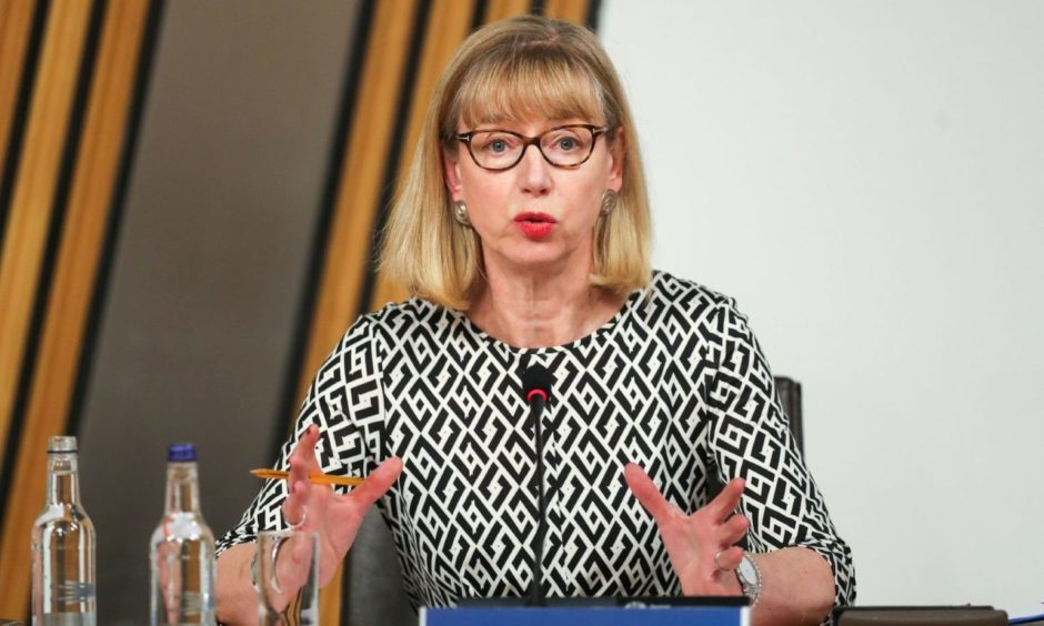 Permanent Secretary Leslie Evans gives evidence to a Scottish Parliament committee, at Holyrood in Edinburgh, examining the handling of harassment allegations against former first minister Alex Salmond.