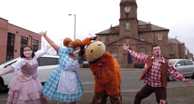 Princess Jill (Erin Murray), Chirry Teuchter (Catriona Molver), Hamish the Heelan Coo (Claire Daniel and Stephanie Wemyss), Jack Teuchter (Grant Ogston) Supplied by Orchard Media Solutions.