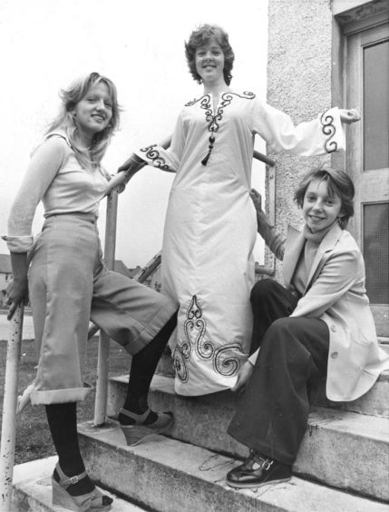 1976:  Four young budding fashion designers are preparing to head for the big time in London. The four and their teacher make up a team from Summerhill Academy, Aberdeen, who have qualified for the final of a national design and dressmaking competition.   The competition has been organised by British Petroleum and Singer and the girls had to select one o two routes they would use to travel to Turkey and design clothing suitable for their journey.  The girls are Linda Stuart (15), 35 Springhill Road; Fiona Fraser (15), 12 Auchlea Place; Dorothy Duguid, 58 Tay Road, and Lorna McAllum (16), 24 Sheddocksley Road, all Aberdeen.