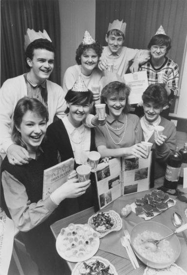 1985: Summerhill Academy's biology team celebrate after hearing of their third place finish in the national competition. Front, left, is Tracy Breen, the team leader, and alongside her (from left) are: Kathleen Friske, Lynne Kortland and Margaret Croll. Back (left to right): Dave Wright, Michelle Boag, James Shea and Bertha Grant.