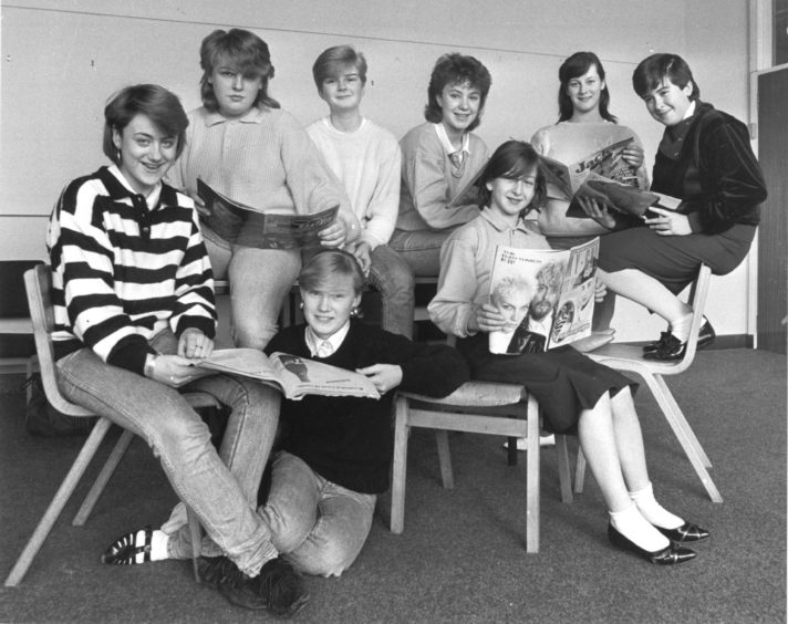 1986: The Summerhill panel: back row (left to right): Angie Shand (15), Julie Garden (15), Tracy Breen (16), Jill Sinclair (13) and Sarah Thomson (12). Front row (left to right), Tracy Yule (14), Alana Robertson (14) and Leanne Ferries (12).