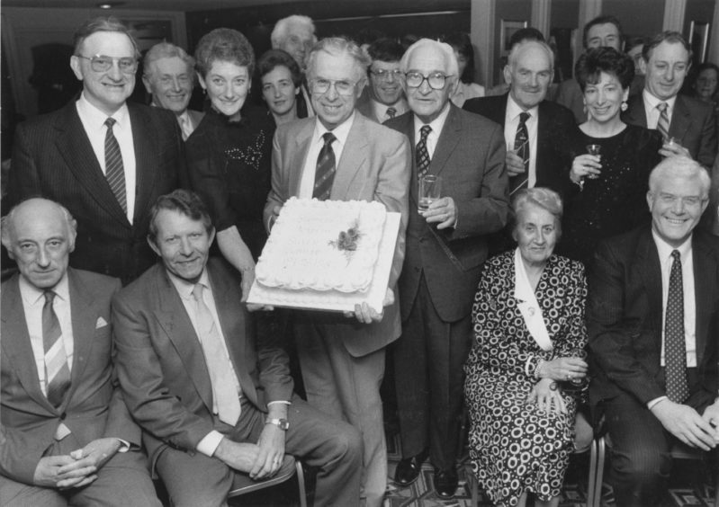 1987: Summerhill Academy held their 25th jubilee dinner in the Amatola Hotel, Aberdeen, last night. Jubilee committee chairman Mr Robert Pirie holds the cake with head teacher Miss Patricia Cormack and the first head, from 1962-68, Mr William Christie (centre right).