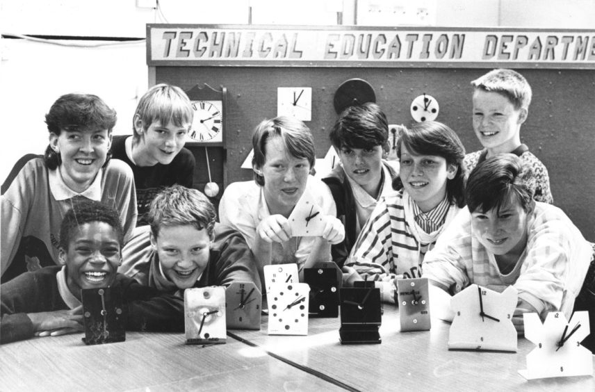 1988: echnical education department pupils at Summerhill Academy are dab hands at clock-making.