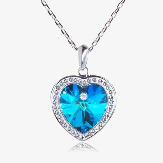 Swarovski® Crystals Blue Heart Necklace - Warren James