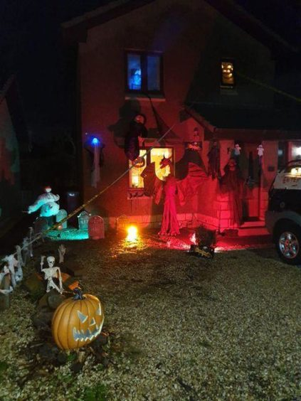 Halloween decorated house. Fochabers. Supplied by Lou Steele