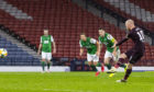 Liam Boyce scores the goal that put Hearts in the Scottish Cup final