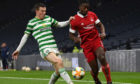 Greg Leigh, right, made his first appearance of his second spell at Aberdeen against Celtic on Sunday
