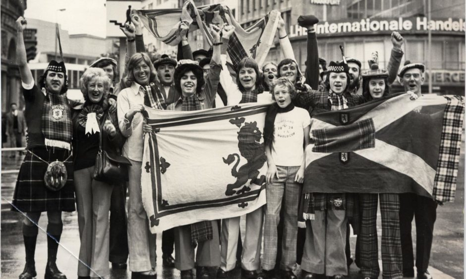 Scotland fans arrive in West Germany to follow the team at the 1974 World Cup.