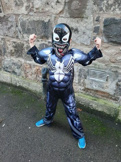 Tyler Cox, 8, celebrating Halloween as Venom. Aberdeen. Supplied by Zoe Cox