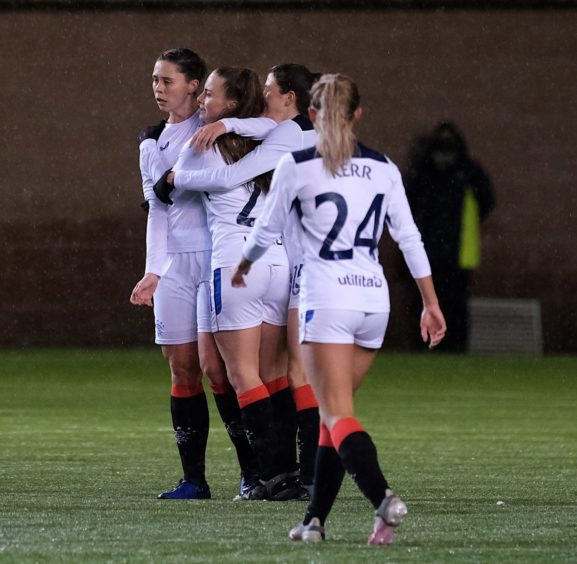 Rangers celebrate Kirsty Howat's goal.