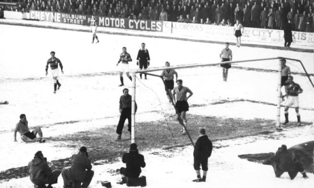 Snow hasn't usually stopped football being played at Pittodrie.