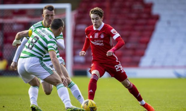 Scott Wright, who is out following surgery, in action in the 3-3 draw with Celtic.