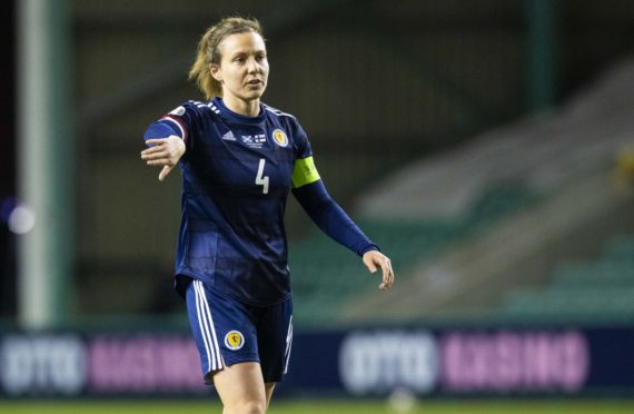 Rachel Corsie in action for Scotland against Finland.
