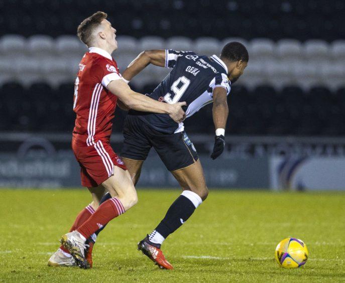 The tussle with Jon Obika which saw Aberdeen midfielder Lewis Ferguson receive a second yellow card against St Mirren