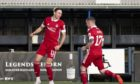 Ryan Hedges, left, celebrates with Jonny Hayes after netting the first Aberdeen goal against Kilmarnock