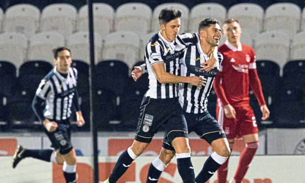 Ilkay Durmus celebrates his goal to put St Mirren 1-0 up against Aberdeen in the Betfred Cup.