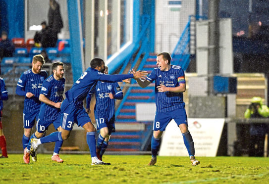 Peterhead's Scott Brown celebrating after scoring to make it 2-1. Picture by Darrell Benns