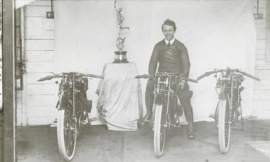 Jock Porter pictured in 1923 following his Isle of Man Lightweight TT win.