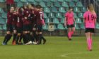 Sparta players celebrate a goal against Glasgow City during their Women's Champions League soccer match in Chomutov, Czech Republic.