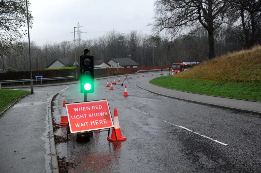 There are currently temporary traffic lights in place as a section of Laurel Drive is down to one lane.
